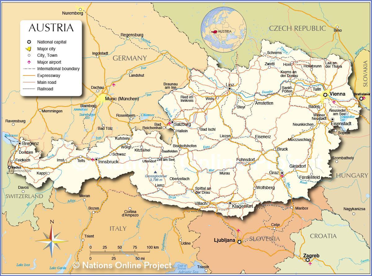 Avstriya Karte Goroda Karta Avstrii S Gorodami Zapadnaya Evropa